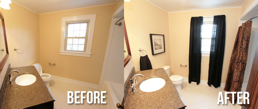 Bath before and after staging indiana home staging for Before and after staging
