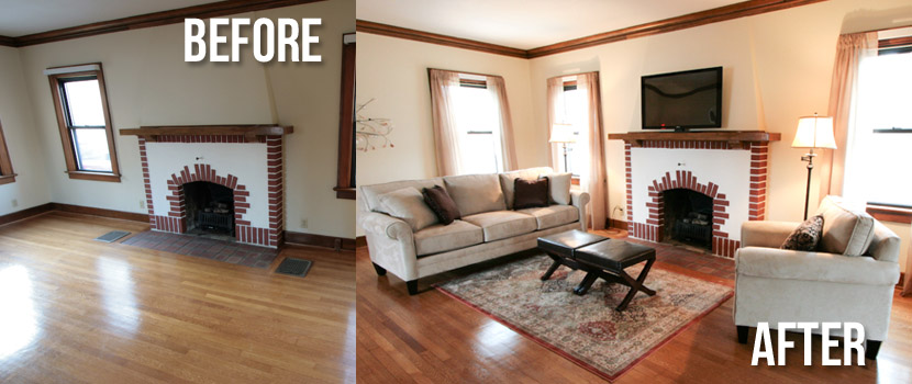 Living Room Before And After Staging Indiana Home Staging