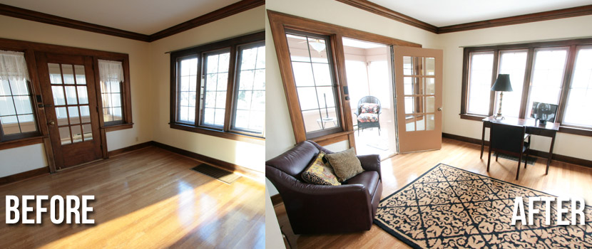 Office Before And After Staging Indiana Home Staging